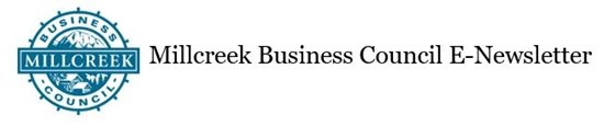 Millcreek Business Council E-Newsletter title banner with blue business council waterwheel logo