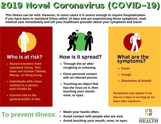 Do you have questions about Covid-19? Call the Utah Coronavirus Information Line at 1-800-456-7707.