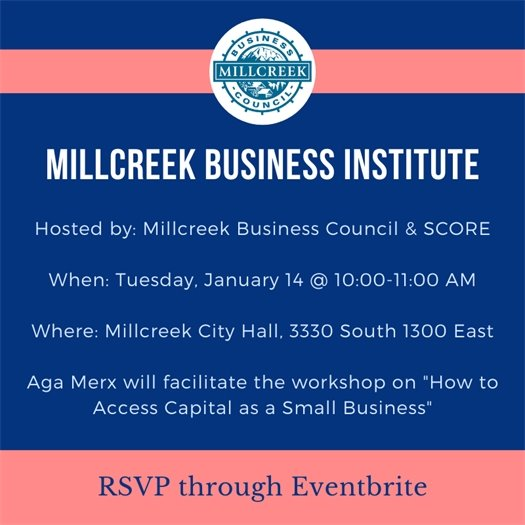 Millcreek Business Institute January 14 @ 10:00 AM, 3330 South 1300 East