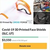 Droid Forge is printing face masks for our healthcare workers.