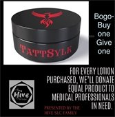 The Hive donating lotion to medical professionals