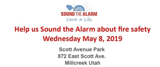 Text image about the Sound the Alarm campaign happening on May 8 at Scott Avenue Park