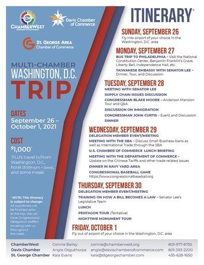 Multi-Chamber Washington DC Trip Itinerary
