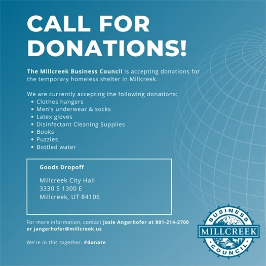 Call for Donations! Help The Millcreek Business Council Collect Donations for the Homeless.
