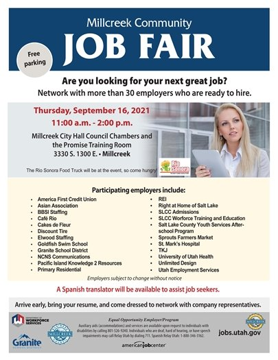 Millcreek Community Job Fair September 16