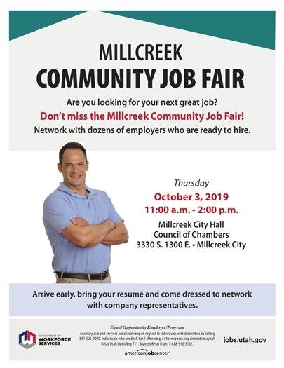 Millcreek Community Job Fair, Thursday, October 3 from 11:00 AM - 2:00 PM @ Millcreek City Hall (3330 South 1300 East)