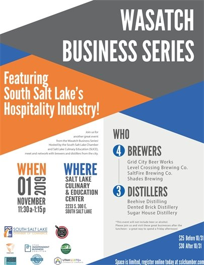 November 1, 2019 11:30 AM - 1:15 PM at 2233 S 300 E South Salt Lake Hospitality Industry Event
