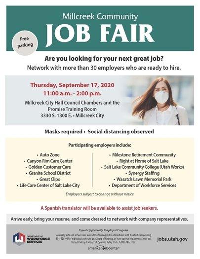 September 17 Millcreek Community Job Fair