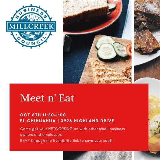 Millcreek Meet n' Eat October 8 from 11:30 - 1:00 @ 3926 Highland Drive