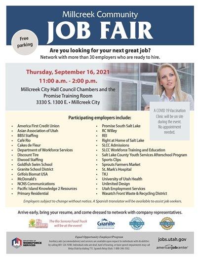 Millcreek Community Job Fair Thursday September 16