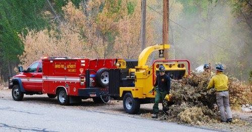fire crew chipping brush